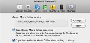 Screenshot: copying files to iTunes